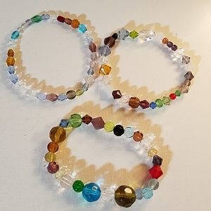 "Set 3 Handmade Bead Stretch 8"" Bracelets"